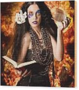 Sorcerer Casting Black Magic Spells Of Fire Wood Print