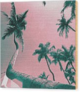 South Beach Miami Tropical Art Deco Wide Palms Wood Print