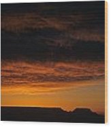 South Rim Grand Canyon Dramatic Clouds Sunset With Silhouetted R Wood Print