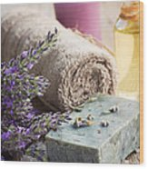 Spa With Lavender And Towel Wood Print