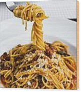 Spaghetti On The Fork Wood Print by Tosporn Preede