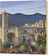 Spain. Besal�. Romanesque Bridge Wood Print