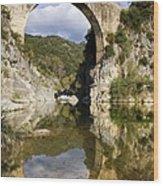 Spain. Gerona. Garrotxa. Bridge Wood Print