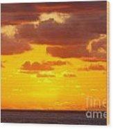 Spectacular Dramatic Orange Sunset Over The Ocean Wood Print