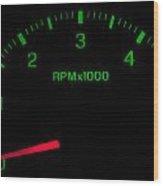 Speedometer On Black Isolated Wood Print