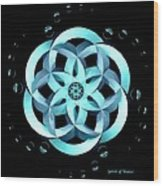 Spirit Of Water 1 - Blue With Water Drops Wood Print