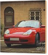 Sport Car In The Old Town Scenery Wood Print