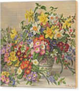 Spring Flowers And Poole Pottery Wood Print