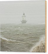 Spring Point Ledge Lighthouse In Storm In Portland Maine Wood Print