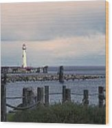 St. Ignace Light Wood Print