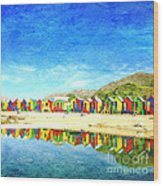 St James Beach Huts South Africa Wood Print