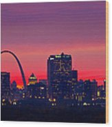 St Louis Sunset Wood Print