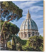 St Peters Basilica Dome Wood Print