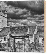 St Sannans Church Bedwellty Mono Wood Print