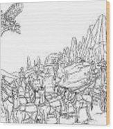 Stagecoach Robbery Wood Print