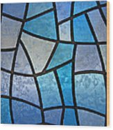 Stained Glass Background With Ice Flowers Wood Print by Kiril Stanchev
