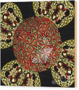 Stained Glass Kaleidoscope Under Glass Wood Print