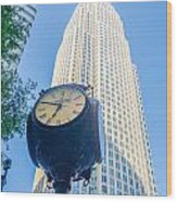 Standing By The Clock On City Intersection At Charlotte Downtown Wood Print