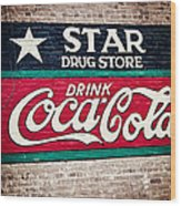 Star Drug Store Wall Sign Wood Print