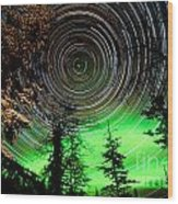 Star Trails And Northern Lights In Sky Over Taiga Wood Print