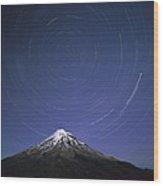 Star Trails Over Mt Taranaki New Zealand Wood Print