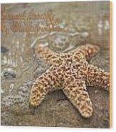 Starfish On Beach Wood Print
