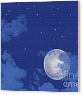 Starry Night View Wood Print