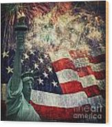Statue Of Liberty And Fireworks Wood Print