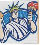 Statue Of Liberty Throwing Football Ball Wood Print