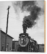 Steam Engine 3254 Black And White Wood Print