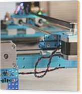 Stepper Motor On Industrial Machine Wood Print
