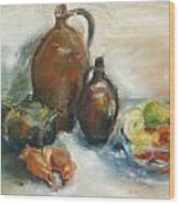 Still Life With Earthen Jugs Wood Print