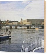 Stockholm City Harbor Wood Print