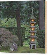 Stone Lantern Illuminated With Candles Wood Print