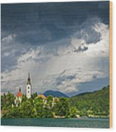 Storm Light Over Lake Bled Wood Print