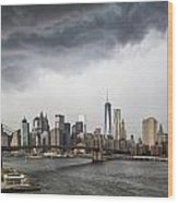 Storm Over Manhattan Downtown Wood Print