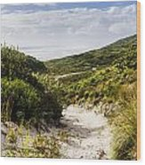 Strahan Coast Landscape Winding To The Ocean Wood Print