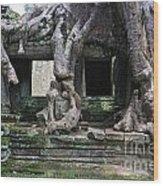 Strangler Fig Tree Roots On Preah Khan Temple Wood Print