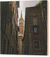 Street Of Rome Wood Print