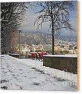 Street With Snow Wood Print