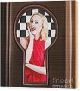 Stylish Surprised Women Portrait. Pinup Secret Wood Print