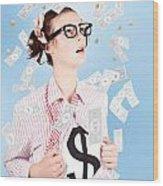 Successful Female Business Superhero Winning Money Wood Print