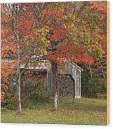 Sugarhouse In Autumn Wood Print
