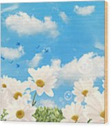 Summer Daisies Wood Print by Amanda Elwell
