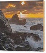 Sun Sets On Patrick's Point Wood Print