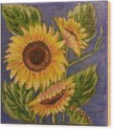 Sunflower Burst 1 Wood Print