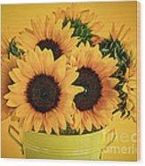 Sunflowers In Vase Wood Print by Elena Elisseeva