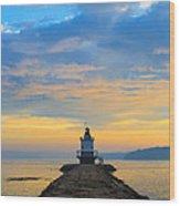 Sunrise At Spring Point Lighthouse Wood Print