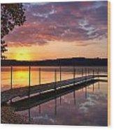 Sunrise On Keoka Lake Wood Print
