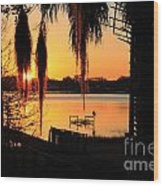 Sunrise On Lake Weir - 4 Wood Print